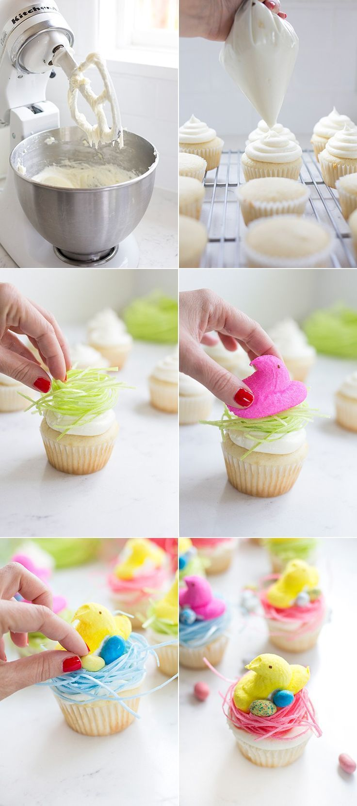 "How to make Easter Peep Cupcakes with edible ""grass"" nests."