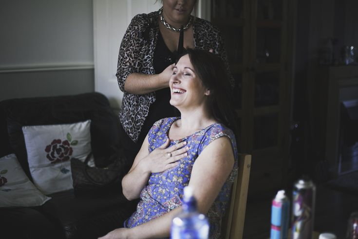 Having all the laughs while getting ready, seriously excited bridal party!