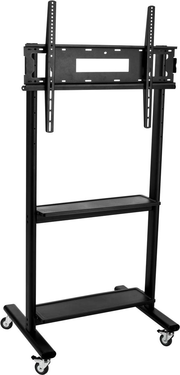 Displays2go TVJT321G1 TV Stand with Wheels for 32-Inch to 80-Inch Flat Screen Monitors with Height Adjustable, 2 Shelves and Locking Wheels