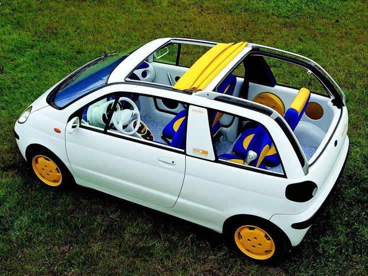 Fiat Lucciola Concept, 1993, by Italdesign, An compact electrically-driven hybrid made from recyclable materials with an aluminium body based on the Fiat Cinquecento. When Fiat were't interested in developing the concept, Giugiaro sold the design to Daewoo for the Matiz (as a five door hatchback)