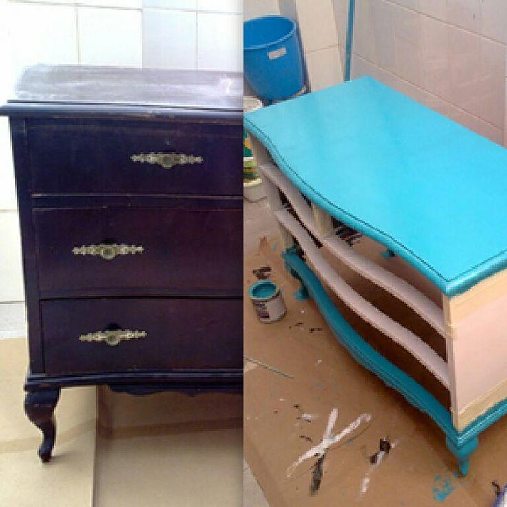 Antes y despues muebles restaurados pinterest - Muebles antiguos restaurados ...