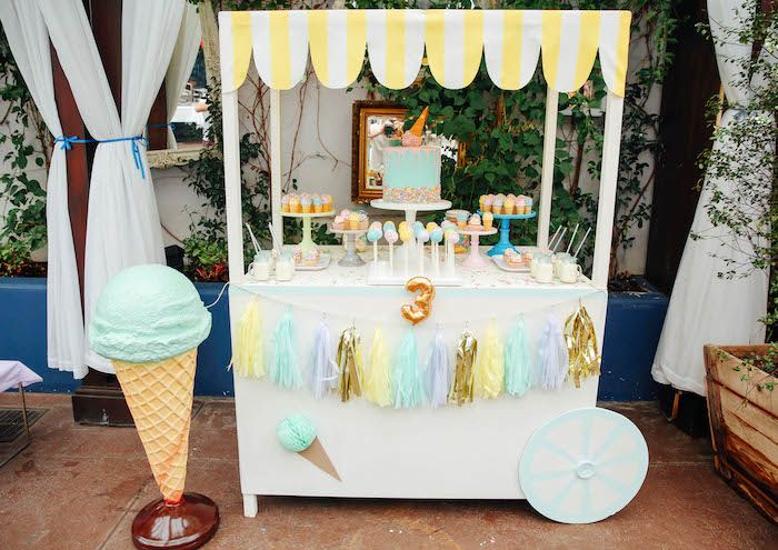 Ice Cream Stand Dessert Table from an Ice Cream Inspired Birthday Party via Kara's Party Ideas | KarasPartyIdeas.com (12)