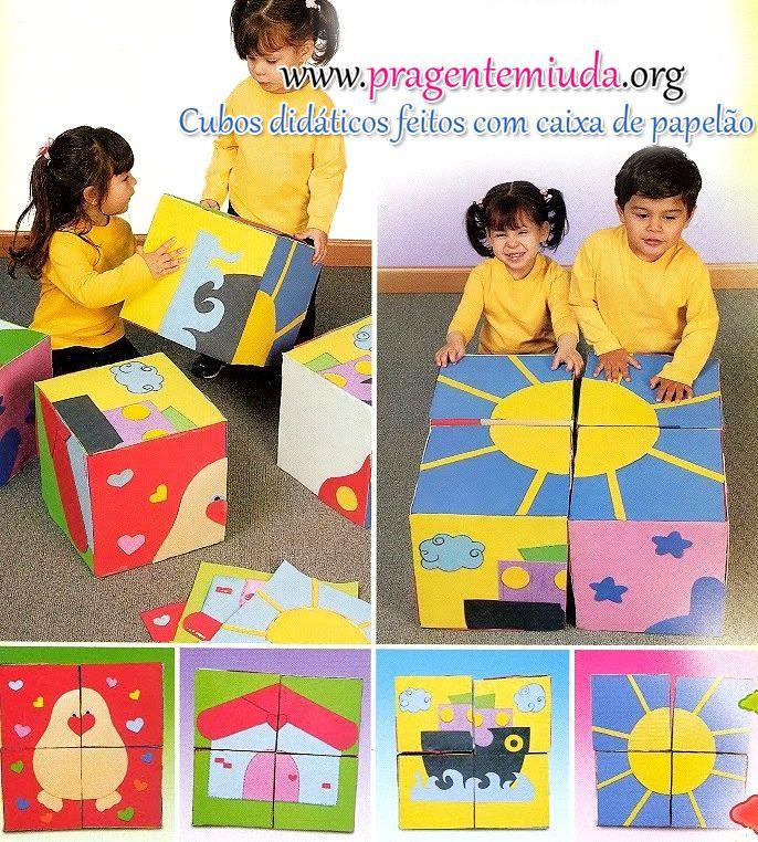 Pra Gente Miúda: Cubos didáticos de papelão para encaixes