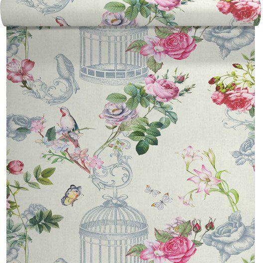 papier peint intiss cage aux papillons rose id e d co. Black Bedroom Furniture Sets. Home Design Ideas
