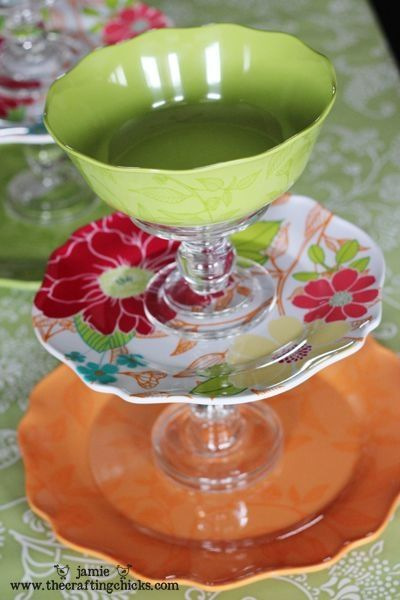 Glue a bowl, 2 plates and 2 candlestick holders together....dollar store craft. Put dip in bowl! by adrian