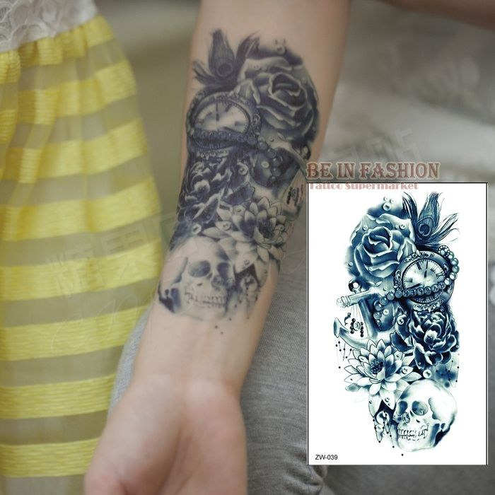 0.57$  Buy here - one piece Trendy temporary tattoo flower rose clock jewel death pirate skull tattoos stickers for lower arm body art men QS-C039   #buychinaproducts
