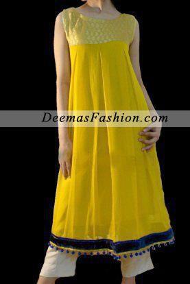 Yellow White Casual Wear Frock   Latest Pakistani Fashion 2014 Bridal Dresses Formal Wear