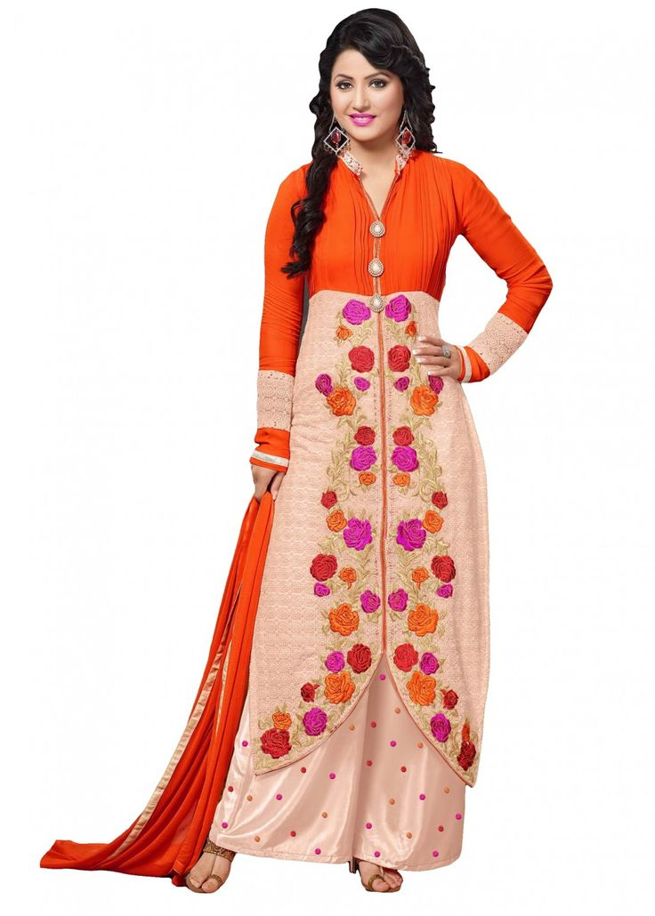 Beautiful Looking Beige & Orange Colour Georgette Designer Dress Material