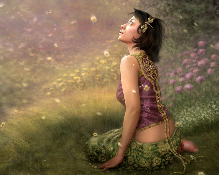 1280x1024 Wallpaper girl, grass, fantasy, sit