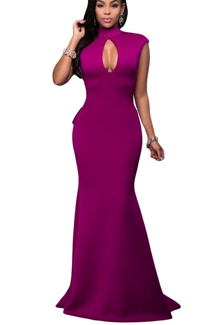 Robes de Soiree Longues Violet Col Roule Dos Nu Ruches Pas Cher www.modebuy.com @Modebuy #Modebuy #Violet #gros #femmes #me