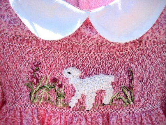 Smocked Girls Dress Long Sleeved, Size 3 / Hand Smocked, Hand Embroidered Lamb For Sale