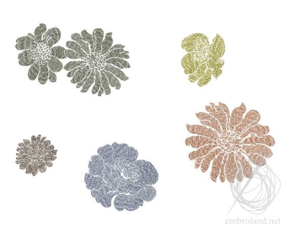 Flowers ornament pattern Machine Embroidery Design