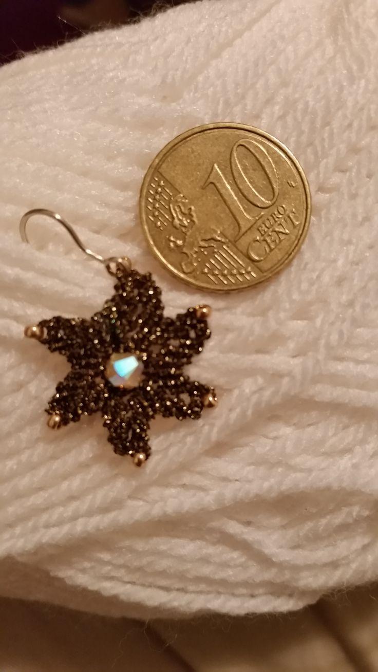 Micro macrame earrings with Swarovski bicon