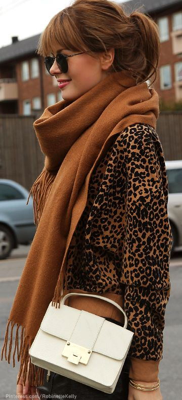 Sable Brown Scarf over brown and black coat with oversize vintage inspired metal round circle sunglasses.