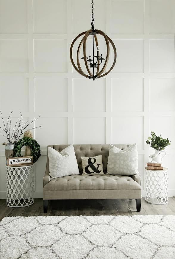 Custom Built Modern Farmhouse Home Tour With Household No 6 White Wood Board And Batten Wall Treatment Orb Chandelier Homedecormodern