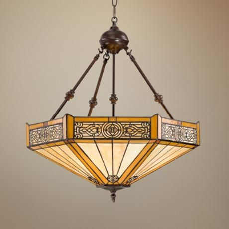 "Stratford 3-Light Mission Tiffany Pendant Light - 18"" wide x 23"" high.  Perhaps just right? $250."