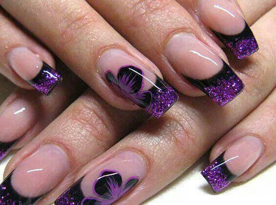 19 best flower nail art design images on pinterest flower nails french nails purple flower design prinsesfo Image collections