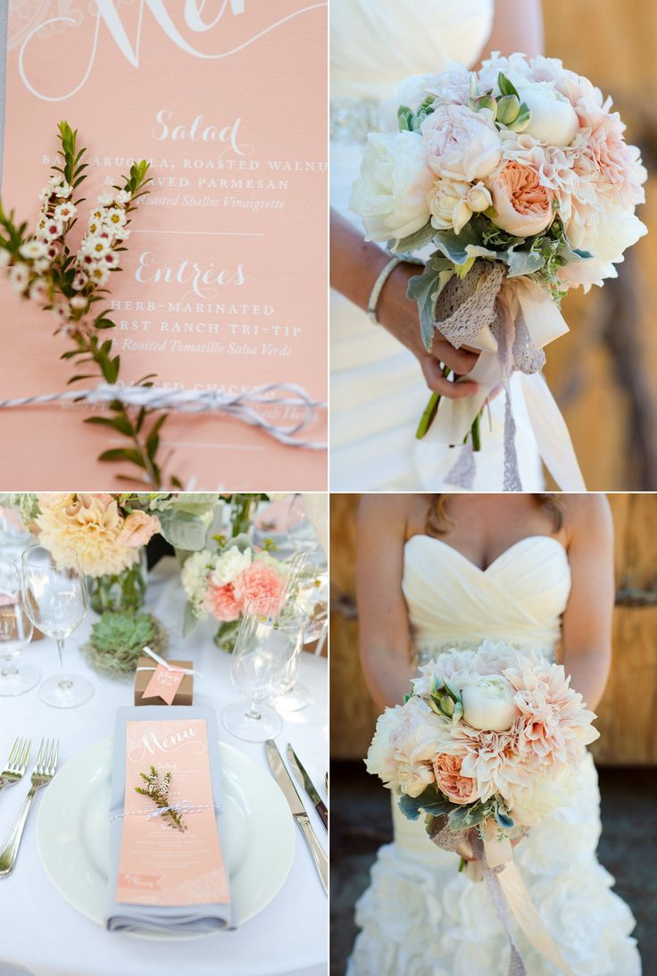 Pastel peach sage Spring wedding high on romance