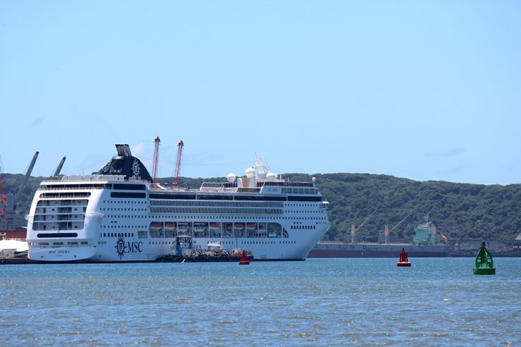 The MSC Opera Cruise Liner moored in Durban harbor on it's 2013/2014 cruise season - just back from a cruise to Mozambique and Madagascar. The Opera will be the only MSC cruise ship for the South African cruise season in 2014/2015. The MSC Sinfonia will not be returning next cruise season. The Opera is the more modern cruise vessel, with funky colours and great activities. Cruising is fun-filled holiday experiences.