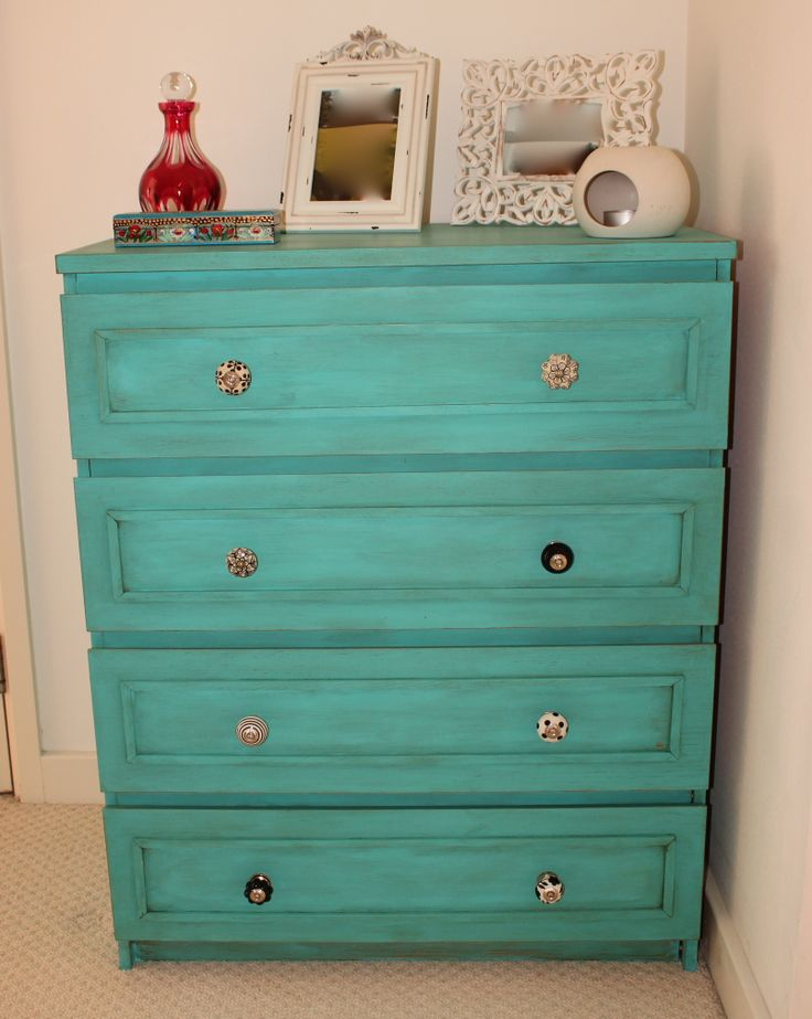 Ikea Malm dresser painted in autentico bright turquoise