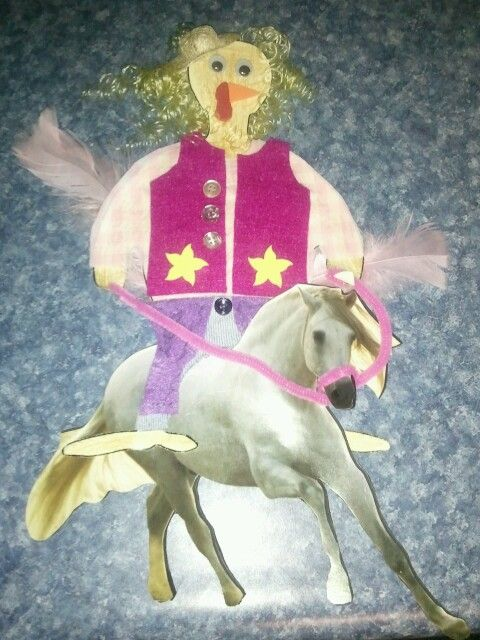 Thanksgiving turkey disguised as a cowgirl.