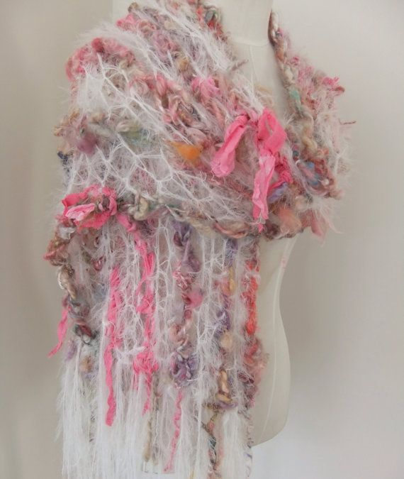 Handspun Hand Crocheted  Scarf  Wrap in White Pastels