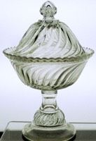 """Beaded Swirl & DiscCompote, Covered6.5"""" diameter, high Standard$25.001904, U.S. GlassBeaded Swirl Disc & Band, #15085Metz II #2296 p111>"""
