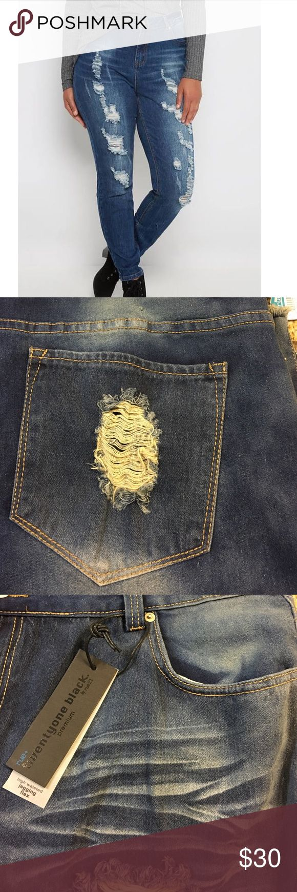 Rue 21 plus high waisted jegging flex New with tags. Keeping it casual has never been easier with this stylish jegging, fashioned with freedom flex denim in a vintage wash. It's cut with a flattering high waist build and heavy rips. Super fitted through leg. Zipped cuffs. Stretchy. Standard length. 73% cotton. 25% polyester 2% spandex.  Twentyone black edition Rue 21 Jeans Skinny
