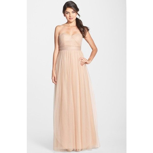 Women's Jenny Yoo Annabelle Convertible Tulle Column Dress (€220) ❤ liked on Polyvore featuring dresses, gowns, tuscan beige, wrap dress, wrap evening dress, tulle ball gown, strapless gown and beige long dress