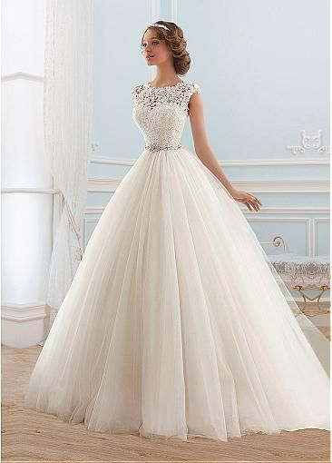 [159.99] Junoesque Tulle Bateau Neckline Ball Gown Wedding Dress  – Dressilyme.com