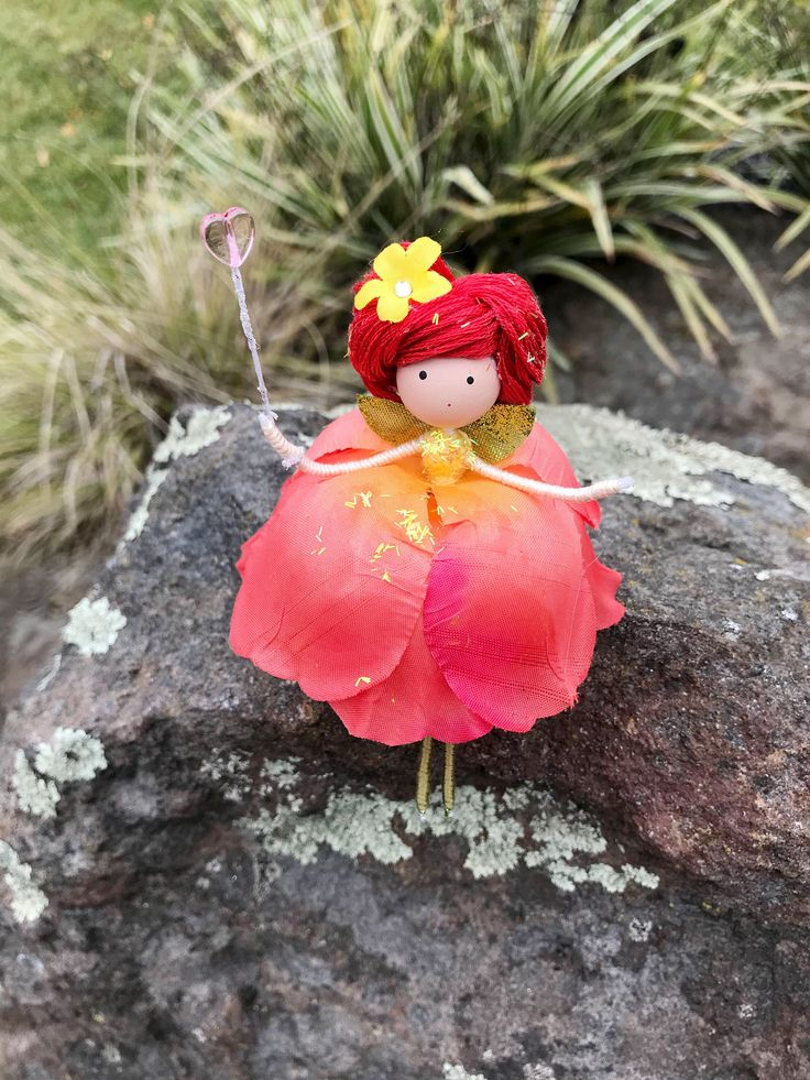 Excited to share the latest addition to my #etsy shop: Poppy Yellow Coral Flower Fairy Doll, Flower Fairies, Fairy Gift Ideas, Nature Lover Gifts, Gifts for Gardener, Wire Bendy Doll, Fairy Wand