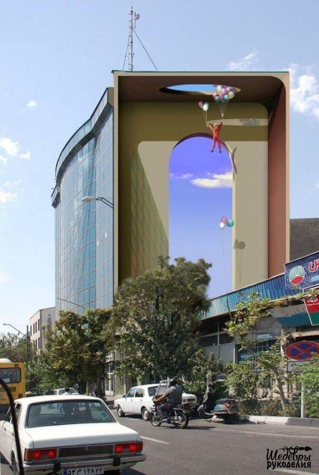 Стрит-арт, который слился с городскими постройками и стал одним целым!