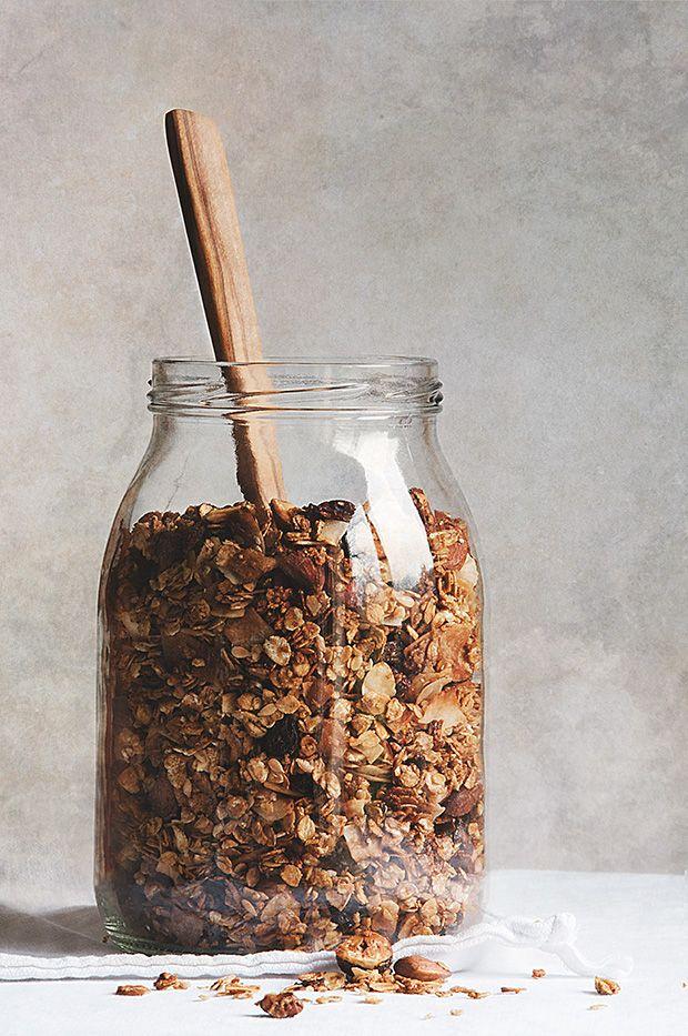 HOUSE GRANOLA ~~~ chestnuts, almonds, hazelnuts, raisins, coconut chips, flax, oat [lacuisinedenathalie]