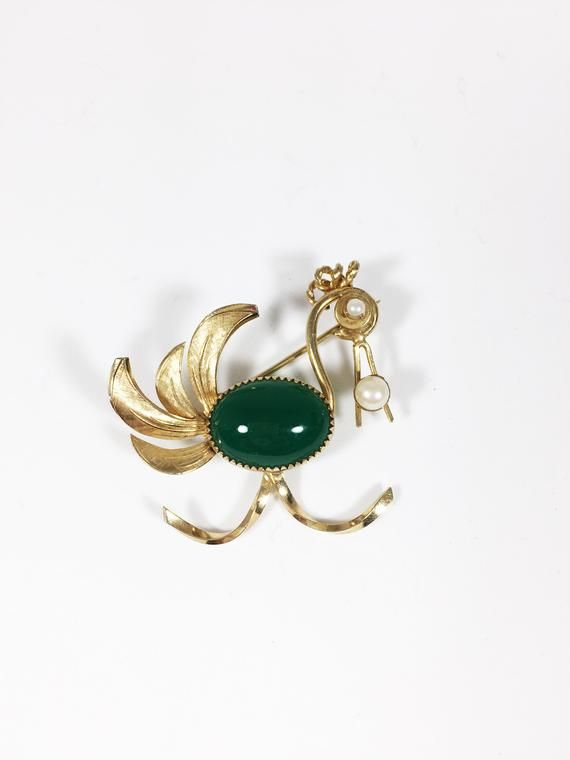 12k Gf Bird Brooch Vintage 1950s 12 Karat Gold Filled Whimsical Stork Flamingo Pin Green Glass Bezel Body Pearl Accents Lo Vintage Brooches Brooch Mimi Jewelry