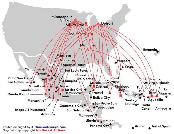 Northwest Airlines Route Map Mexico Central America And Caribbean