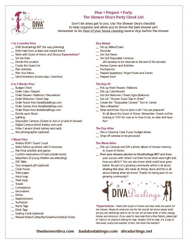 party planning checklist for baby showers bridal showers and bachelorette parties