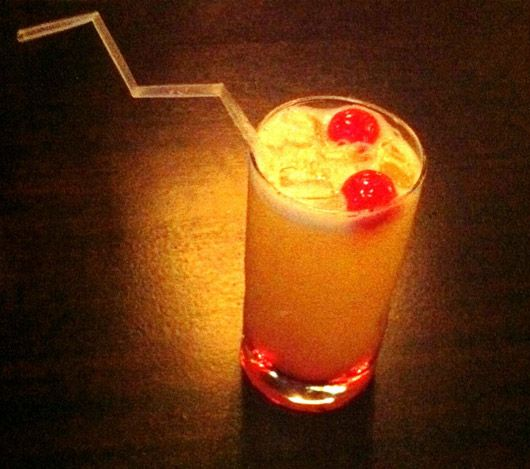 Pika! The Pikachu: Orange juice, Red Bull, vodka, grenadine and ice topped with two cherries and garnished with a bent straw