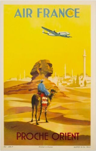 AFFICHE-ANCIENNE-1948-AIR-FRANCE-PROCHE-ORIENT-V-GUERRA-SPHINX-LE-CAIRE-EGYPTE