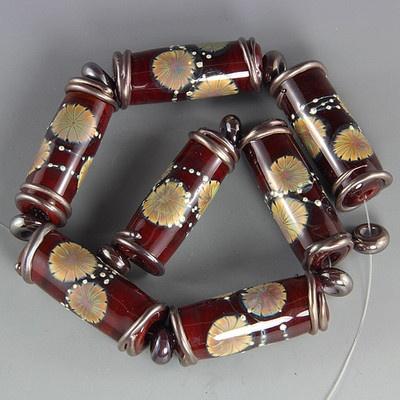 ikuyo handmade lampwork glass focal bead set sra