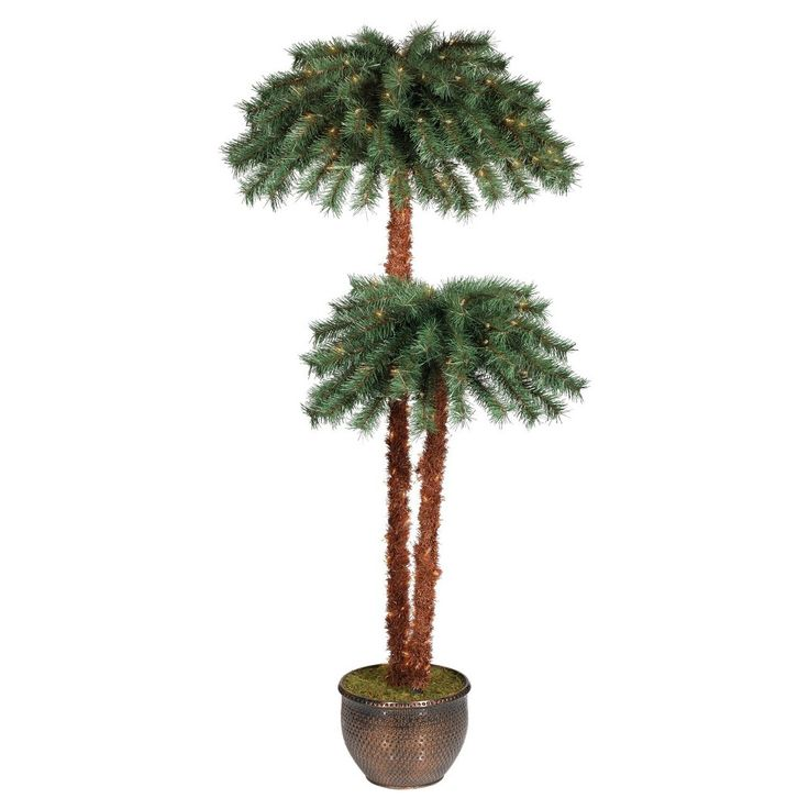 6ft Prelit Artificial Christmas Tree Potted Palm Tree Clear Lights - Wondershop, Green