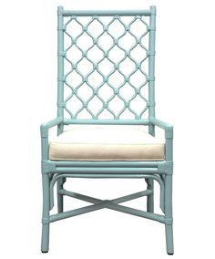 Berber Inspired Lattice Arm Chair in Blue - LOW STOCK - ORDER NOW!