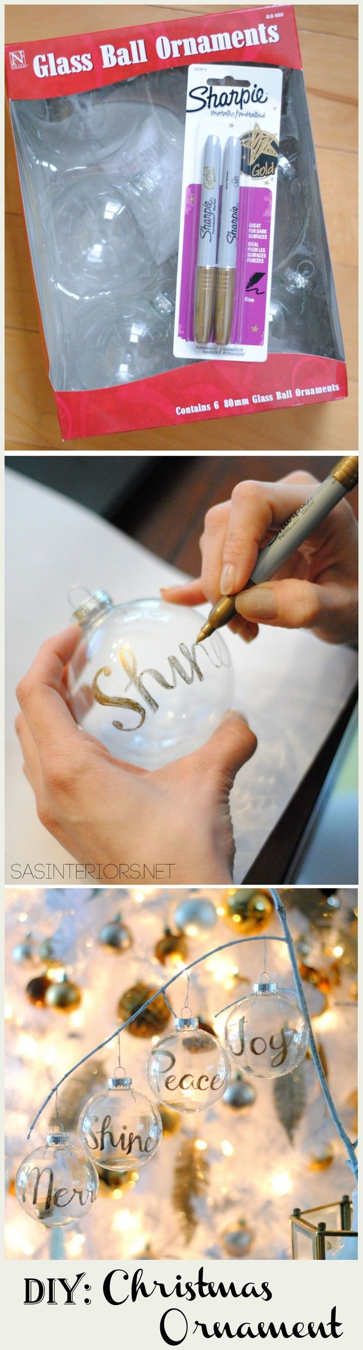 DIY: Word Christmas Ornament using a Gold Sharpie