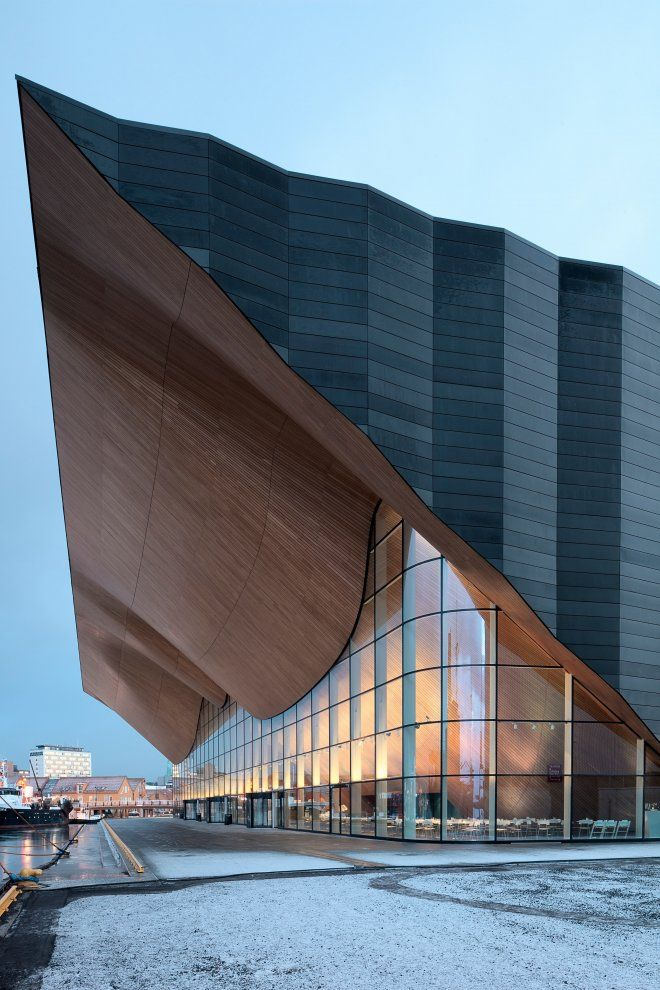 Kilden, a theatre and concert hall in Kristiansand, Norway, designed by ALA Architects Ltd. Incredible roof line/structure.