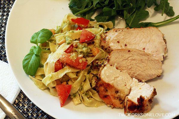 Oven Grilled Chicken Breasts with Garlic Scape Pesto Pasta
