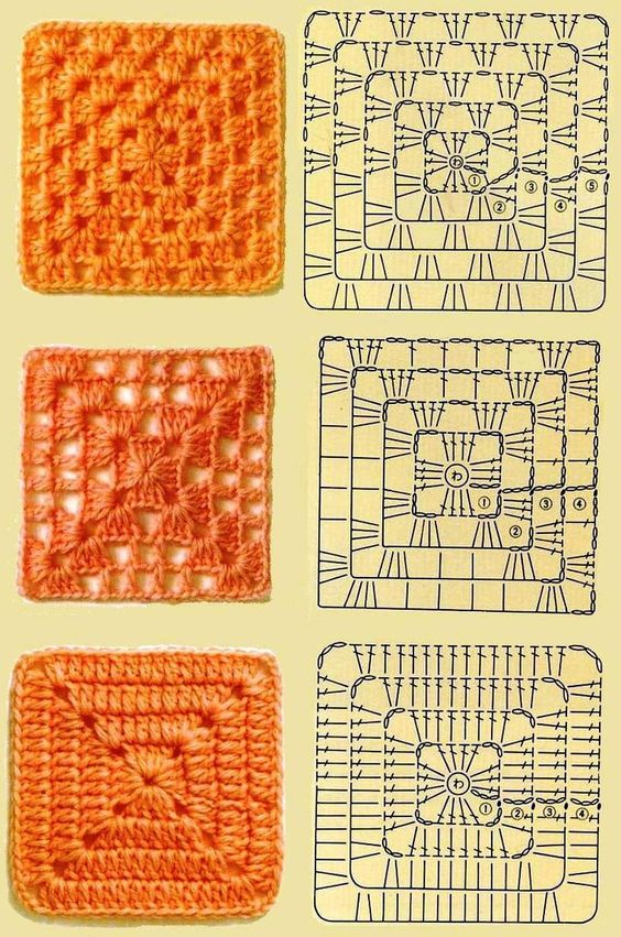 3 kinds of granny squares: