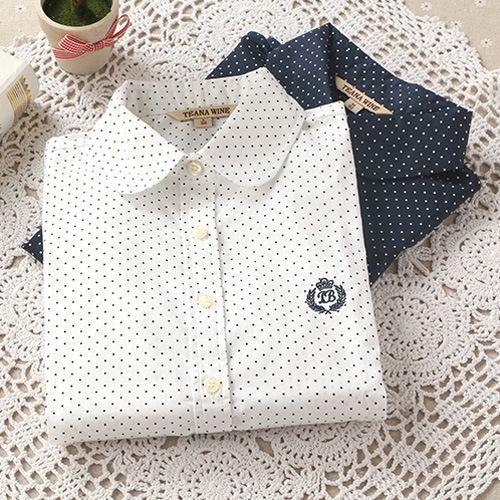 Autumn And Winter Fashion Ladies Office Cotton Shirt Polka Dot Blouse Women Long Sleeve Shirt
