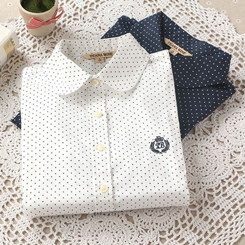 Autumn And Winter Fashion Ladies Office Cotton Shirt Polka Dot Blouse Women Long Sleeve Shirt-in Blouses & Shirts from Women's Clothing & Accessories on Aliexpress.com | Alibaba Group