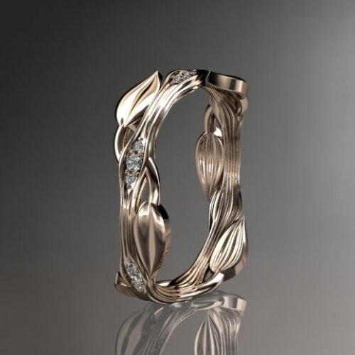 14k  rose gold diamond leaf and vine wedding ring,engagement ring
