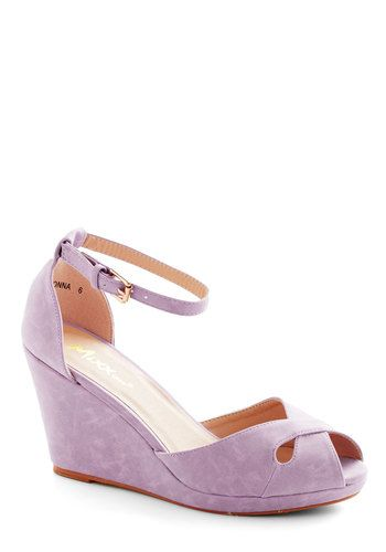 Pretty Possibilities Wedge in Lilac - Purple, Solid, Cutout, Wedding, Daytime Party, Bridesmaid, Platform, Wedge, Peep Toe