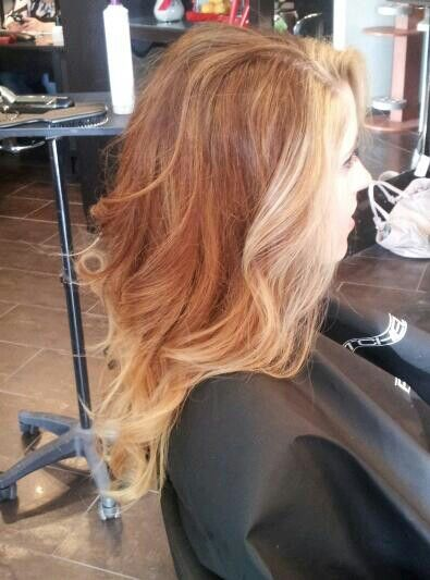 My new do. Red throughout with blonde highlights in the front and tips